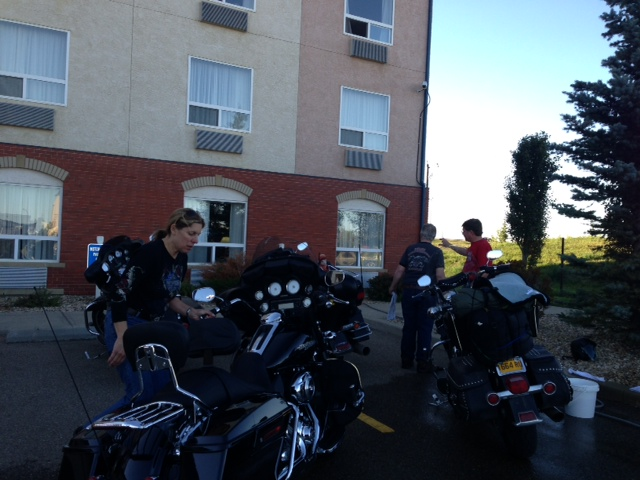 Motorcycle parking and a bike wash. Good job Best Western Red Deer!