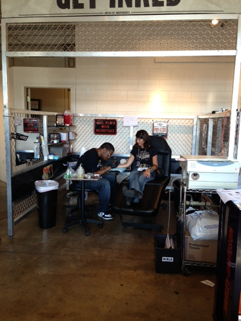 Chop shop- free tattoos, beard and hair trims...unfortunately totally booked by day 1 for the whole weekend!